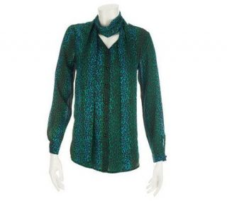 Bob Mackies Ombre Leopard Print Blouse and Scarf —