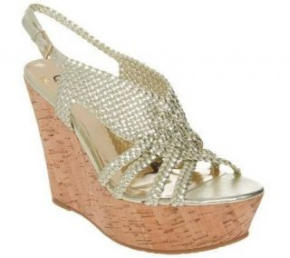Carlos Santana Horizon Woven Wedges w/ Adjustable Strap —