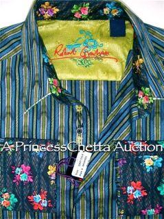 Robert Graham Cozy Cole M Blue Black Green Stripe Shirt Floral Cuffs $