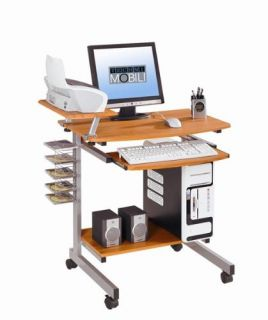 home office dorm computer printer desk portable wheels cherry finish