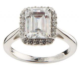 Epiphany Diamonique Framed Emerald Cut Ring —