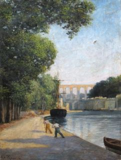 LAPERRIERE (1848 1920) FRENCH IMPRESSIONIST OIL   COROT PUPIL   SIGNED
