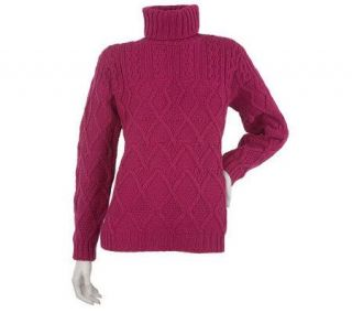 Aran Craft Merino Wool Roll Neck Sweater —