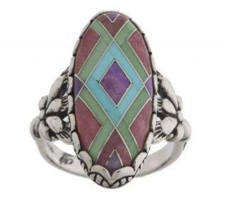 Carolyn Pollack Sterling Multi gemstone Inlay Ring —