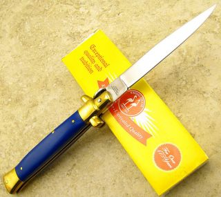 Kissing Crane Blue Composite Handle Folding Blade Lockback Stiletto