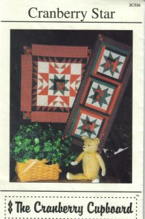 Cranberry Star Table Runner Wall Hanging Quilt Sewing Pattern