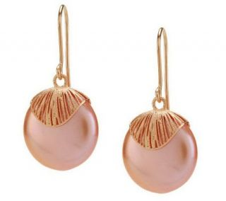 HonoraGold Cultured Pearl 15.0mm Coin Drop Earrings 14K Gold