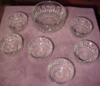 PC Arcoroc France USA Salad Bowl Set Clear Cut Starburst Pattern