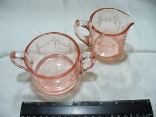 Depression Glass Peach / Pink etched sugar Creamer set