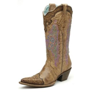 Corral Ladies Lace & Heart Turquoise Cowgirl Boots Chocolate Wingtip