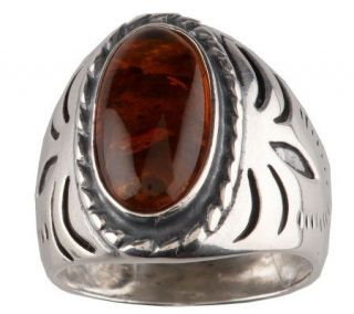 Southwestern Sterling Silver Oval Amber Ring —