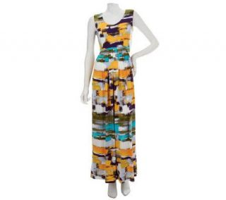 Nina Leonard Printed Matte Jersey Maxi Dress with Pleated Detail