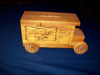 Street Bakery Fruit Cake Wood Delivery Truck Bank Corsicana Texas