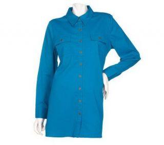 Denim & Co. Long Sleeve Button Front Woven Tunic Big Shirt —