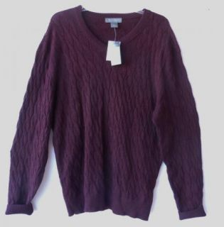 Daniel Cremieux Burgundy 100 Royal Alpaca V Neck Cable Knit Sweater XL