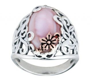 Carolyn Pollack Sterling Mother of Pearl Buttercup Ring   J312276