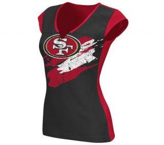NFL San Francisco 49ers Face Paint Split NeckT Shirt —