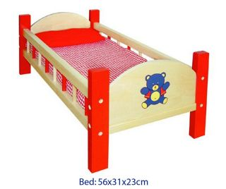 WOW Wooden Baby Doll Bed with Bedding Pretend Cot Crib