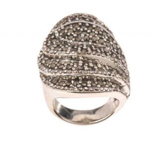 As Is Suspicion Sterling Bold Marcasite & Crystal Ring   J271477
