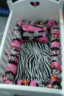 American Girl Bitty Baby Doll Zebra Crib Bedding Set