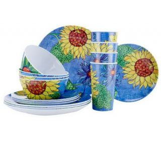 Blue Jean Chef 16 pc. Everyday Service for 4 Sunflower Dinnerware Set
