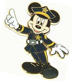 Security Cop Policeman Mickey Mouse Gold Badge Shield Black Uniform