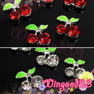 10pcs Lovely Cherry Sweet Fruit 3D Rhinestone Nail Art Glitter Slices