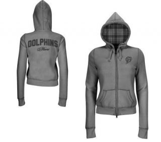 NFL Miami Dolphins Womens Sweatshirt with Plaid Lined Hood —