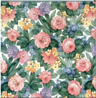 Wallpaper Floral Shand Kydd Cabbage Roses English Cottage Vintage D RS