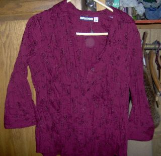 Croft Barrow Maroon Embroidered Shirt Womans Large