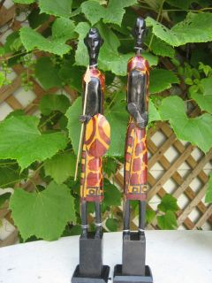 COUPLE OF WOOD HAND CARVED FIGURINE STATUES PRIMITIVE DECOR WOODEN ART