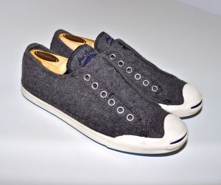 CONVERSE Low Profile Jack Purcell Sneakers GRAY WOOL Slip On Mens 6 5