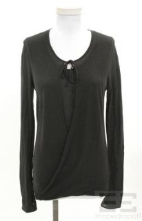 Firma Black Cotton Tie Neck Long Sleeve Top Size 38 New
