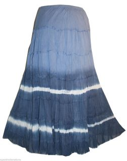 119 Blue Soft Cotton Tie Dye Tiered Sexy Long Bohemian Beach Vacation