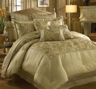 Croscill Savina King Comforter Pillow Set 12 Pcs Taupe
