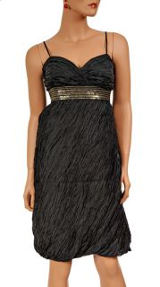 New $325 Laundry Shelli Segal Womens Sexy Sequin Black Cocktail Silk