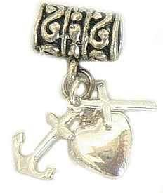 925 Silver Heart Cross Anchor Charm for European Bead