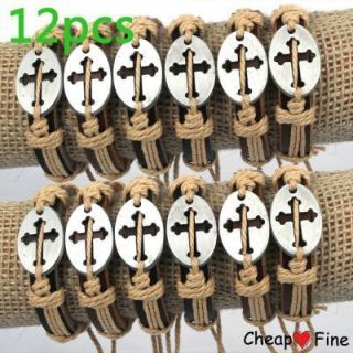 Wholesale LOT12 Stylish Cross Genuine Leather Bracelet