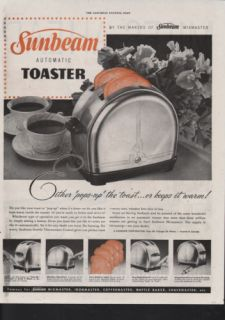 1947 Sunbeam Toaster Bread Coffee Flower Kitchen Food