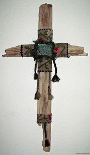 Folk Art Cross Rustic Lodge Southwest Art Textile Turquoise Raylc