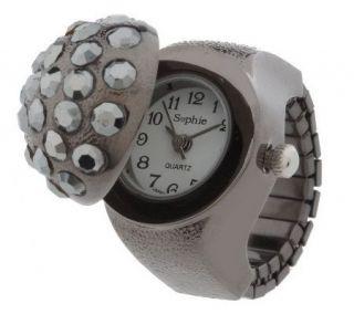 Jeweled Fashion Stretch Ring Watch —