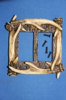 faux, ANTLER DOUBLE ROCKER SWITCH PLATE COVER, HUNTING DECOR