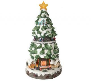 Fiber Optic Snow Covered Christmas Tree with Animated Train & Music