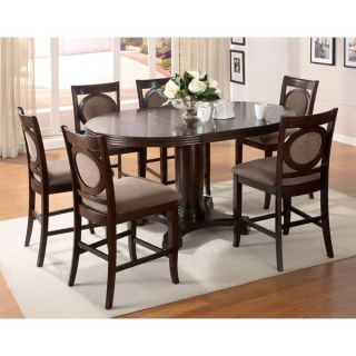 Solid Wood Dark Walnut Finish 7 Piece Counter Height Dining Set