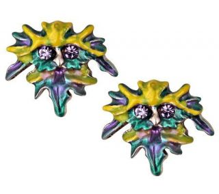 Kirks Folly Petite Enchanted Forest Green Man Pierced Earrings