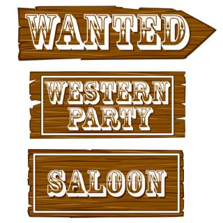 Cowboy Cowgirl Party Supplies Western Sign Cutouts 3pk