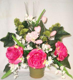 Pink Roses Silk Flower Floral Arrangement Centerpiece