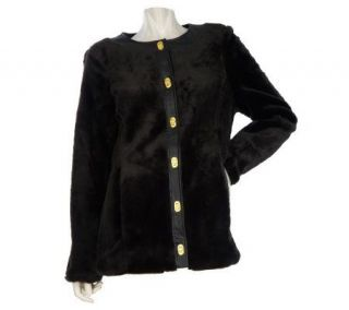 Dennis Basso Turnkey Faux Fur Jacket with Leather Trim   A218388