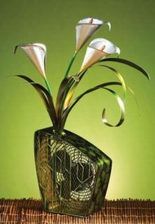 New 6 Deco Breeze Cala Lilies Figurine Table Top Fan