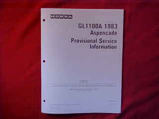 Honda GoldWing GL1100A Aspencade Provisional Service Info Manual